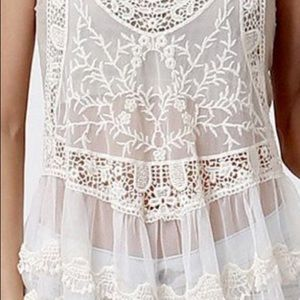 Express lace crochet swimsuit cover up tank top S